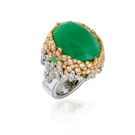 Pasquale Bruni Ghirlandia 18k White Gold Diamond + Chrysoprase Ring // Ring Size: 7.5 // Store Display