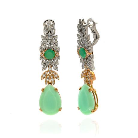 Pasquale Bruni Ghirlandia 18k Rose Gold Diamond + Chrysoprase Earrings // Store Display