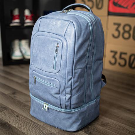 Luxury Travel Bag // Tumbled Leather // Baby Blue