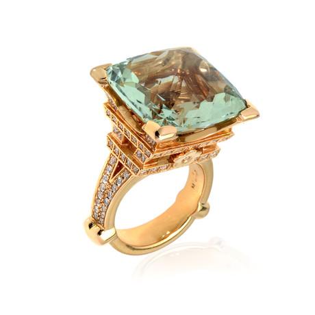 Pasquale Bruni Eiffel 18k Rose Gold Diamond + Green Quartz Ring // Store Display (Ring Size: 6.5)