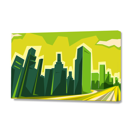 """Los Angeles skyline (16""""W x 24""""H x 1.5""""D)"""