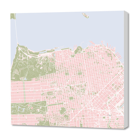 "San Francisco city map vintage (16""W x 24""H x 1.5""D)"