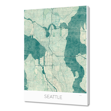 """Seattle Map Blue (16""""W x 24""""H x 1.5""""D)"""
