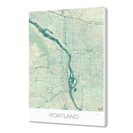 "Portland Map Blue (16""W x 24""H x 1.5""D)"