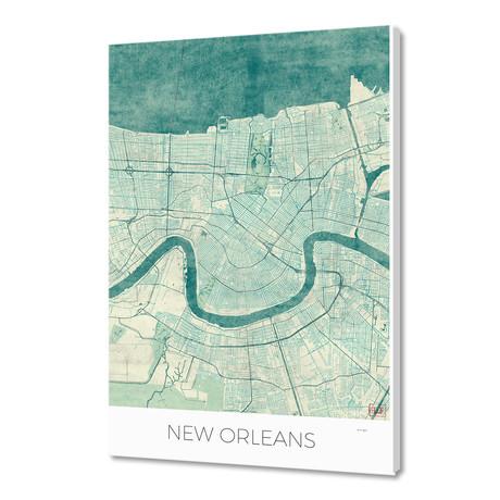 "New Orleans Map Blue (16""W x 24""H x 1.5""D)"