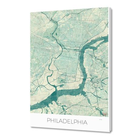 "Philadelphia Map Blue (16""W x 24""H x 1.5""D)"