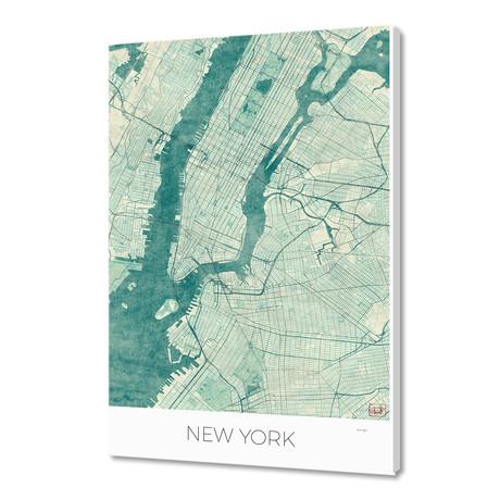 "New York Map Blue (16""W x 24""H x 1.5""D)"