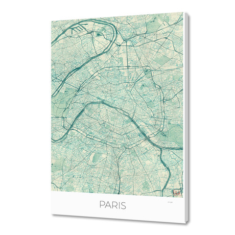 """Paris Map Blue (16""""W x 24""""H x 1.5""""D)"""
