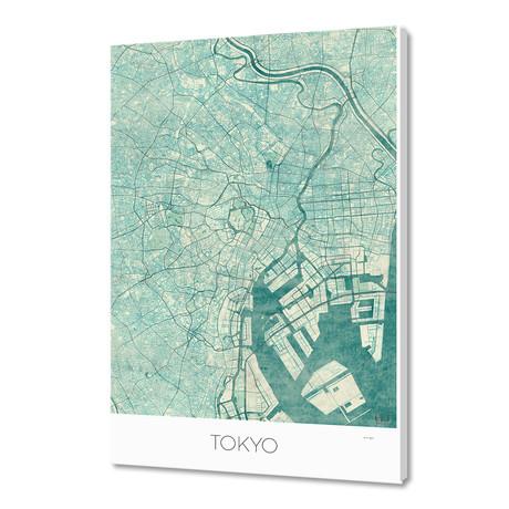 """Tokyo map blue (16""""W x 24""""H x 1.5""""D)"""