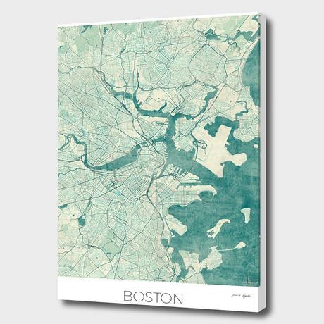 """Boston Map Blue (16""""W x 24""""H x 1.5""""D)"""