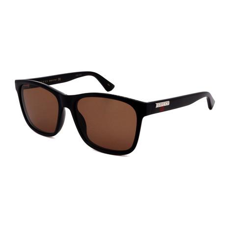 Men's GG0746S-002 Square Sunglasses // Black + Brown