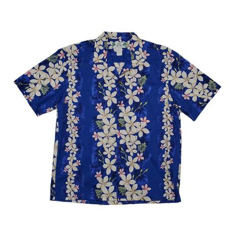 Vintage Plumeria Panel Shirt // Navy (Small)