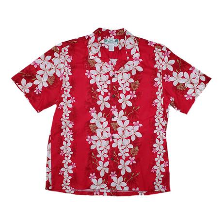 Vintage Plumeria Shirt // Red (Small)