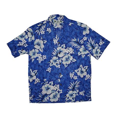 Crack Hibiscus Shirt // Blue (Small)