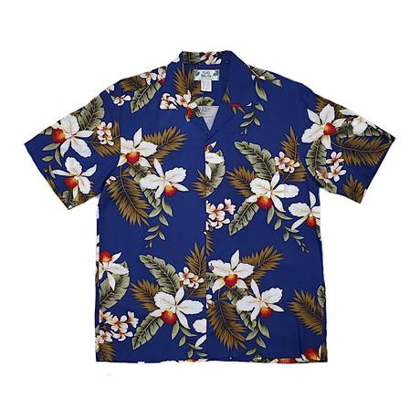 Hawaiian Orchid Shirt // Navy (Small)