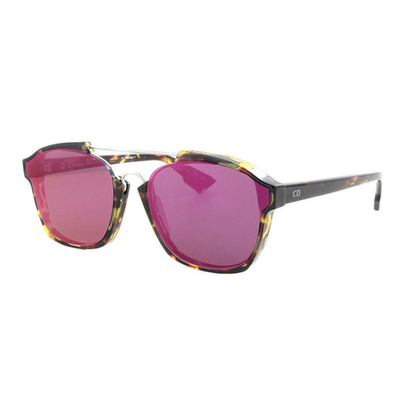 Women's Abstract Sunglasses // Spotted Havana + Violet Mirror