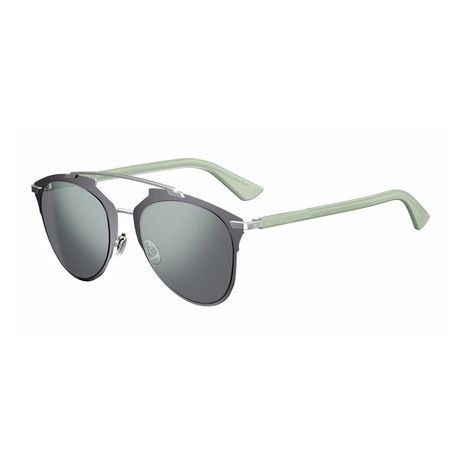 Women's DIORREFLECTED-0P3R-T7 Reflected Sunglasses // Gray Green + Blue Mirror