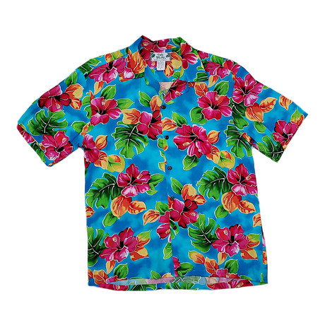 Hibiscus Watercolor Shirt // Blue (Small)