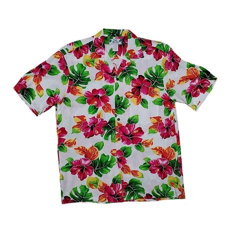 Hibiscus Watercolor Shirt // White (Small)