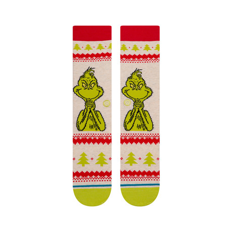 Grinch Sweater Socks // White (M)