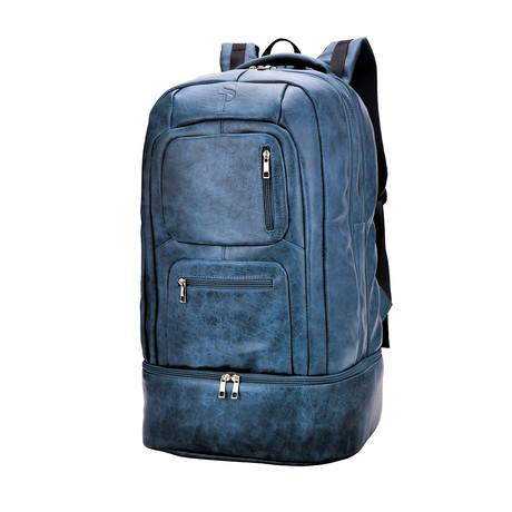 Luxury Travel Bag // Tumbled Leather // Blue