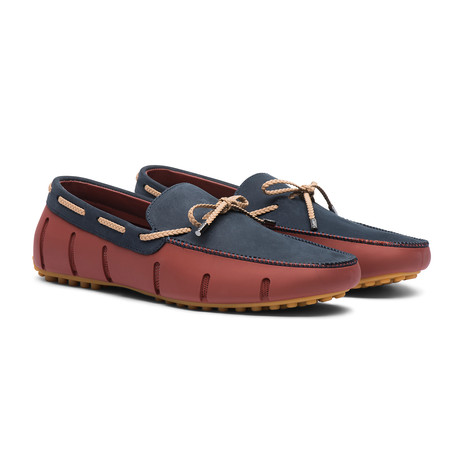 Braided Lace Lux Loafer // Red Lacquer + Navy (Men's US Size 7)