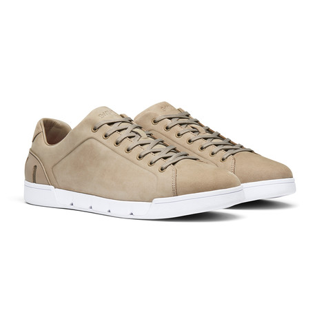 Breeze Tennis Leather // Timber Wolf + White (Men's US Size 7)