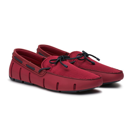 Braided Lace Loafer // Deep Red + Navy (Men's US Size 7)