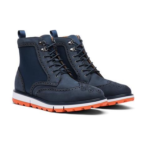 Motion Wing Tip Boot // Navy + Orange (Men's US Size 7)