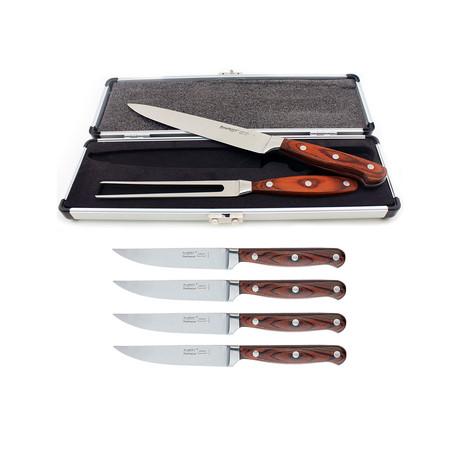 Pakka Wood Steak/Carving Set + Case // Set of 7