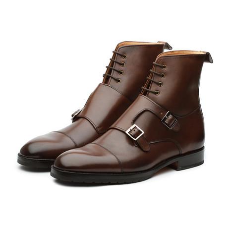 Monkstrap Leather Boots // Dark Brown (US: 7)