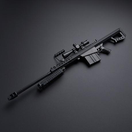 BARRETT M82 1:3 Scale Diecast Metal Long Range Sniper Model Gun + Scope + Bipod // Black