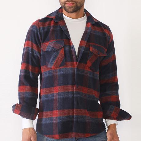 Thad Flannel // Dark Blue + Burgundy (Small)