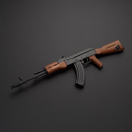 Classic AK47 1:3 Scale DieCast Metal Model Gun + Display Stand // Black + Brown