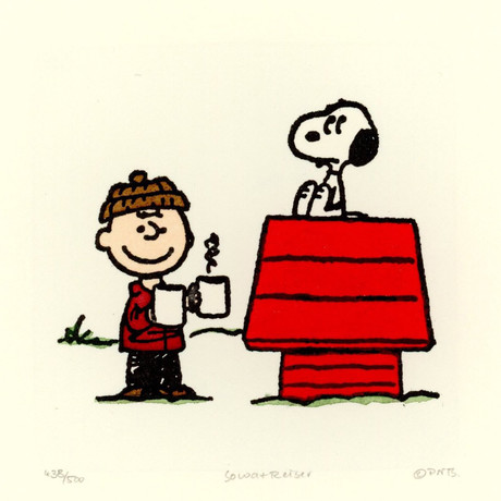 Snoopy + Charlie Brown //Hot Cocoa //  Hand Painted Sowa & Reiser Etching (Unframed)