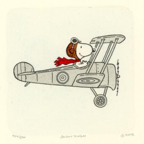 Snoopy // Red Baron // Hand Painted Sowa & Reiser Etching (Unframed)