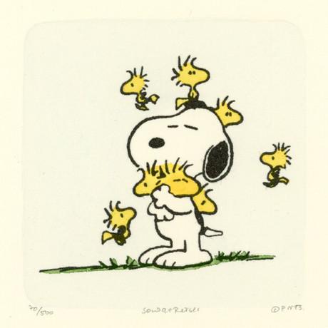 Woodstock + Snoopy // Friends // Hand Painted Sowa & Reiser Etching (Unframed)