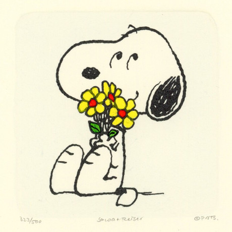 Snoopy // Flowers //  Hand Painted Sowa & Reiser Etching (Unframed)