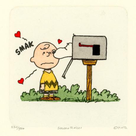Charlie Brown + Snoopy Hand Painted Sowa & Reiser Etching (Unframed)
