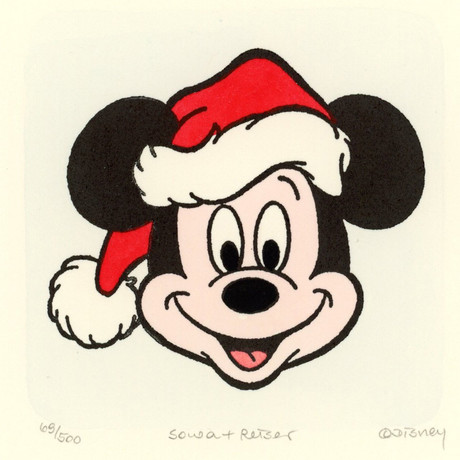 Mickey Mouse  // Santa //  Hand Painted Sowa & Reiser Etching (Unframed)
