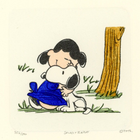 Lucy + Snoopy Hand Painted Sowa & Reiser Etching (Unframed)