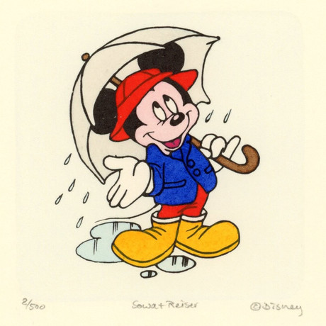 Mickey Mouse  // In The Rain //  Hand Painted Sowa & Reiser Etching (Unframed)