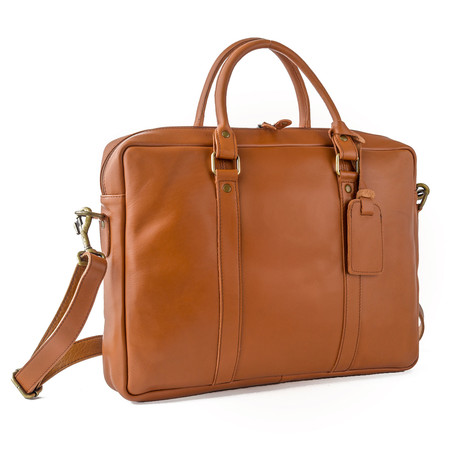 "Slim Leather Briefcase 15"" // Tan"