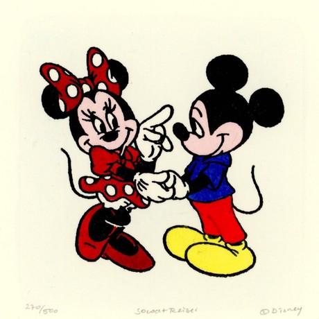 Mickey & Minnie  // Flirting //  Hand Painted Sowa & Reiser Etching (Unframed)