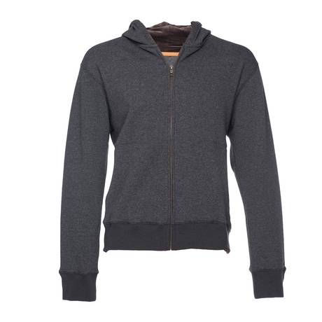 Cassius Hooded Sweatshirt + Velour Back // Dark Gray (XS)