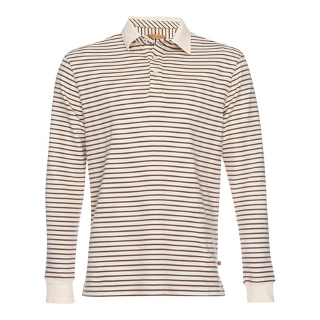 Nicholas Dobby Stripe Polo // Brown + Cream (XS)