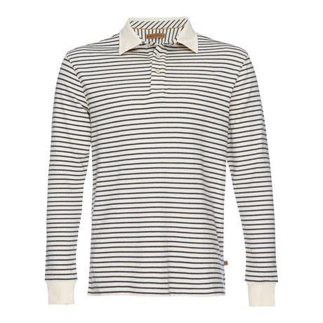 Nicholas Dobby Stripe Polo // Gray + Cream (XS)
