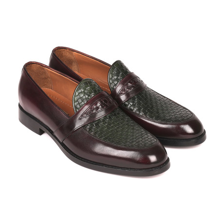 Woven Leather Loafers // Brown + Green (Euro: 38)