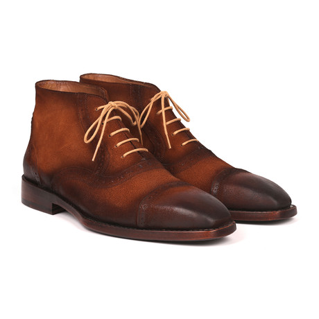 Antique Suede Cap Toe Ankle Boots // Brown (Euro: 38)