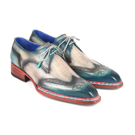 Norwegian Welted Wingtip Derby Shoes // Blue + Gray (Euro: 38)
